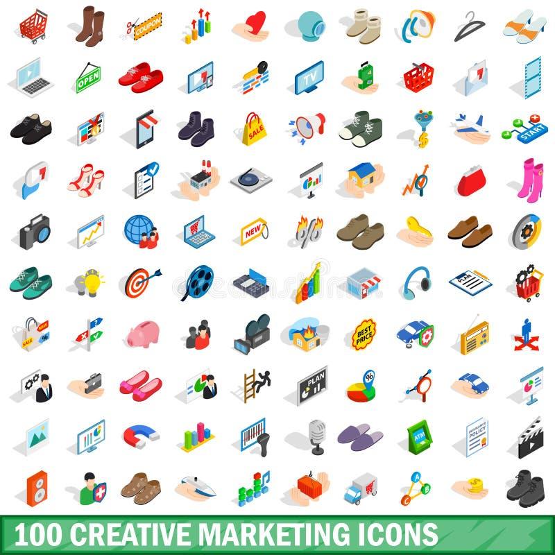 被设置的100个创造性的营销象,等量样式 向量例证