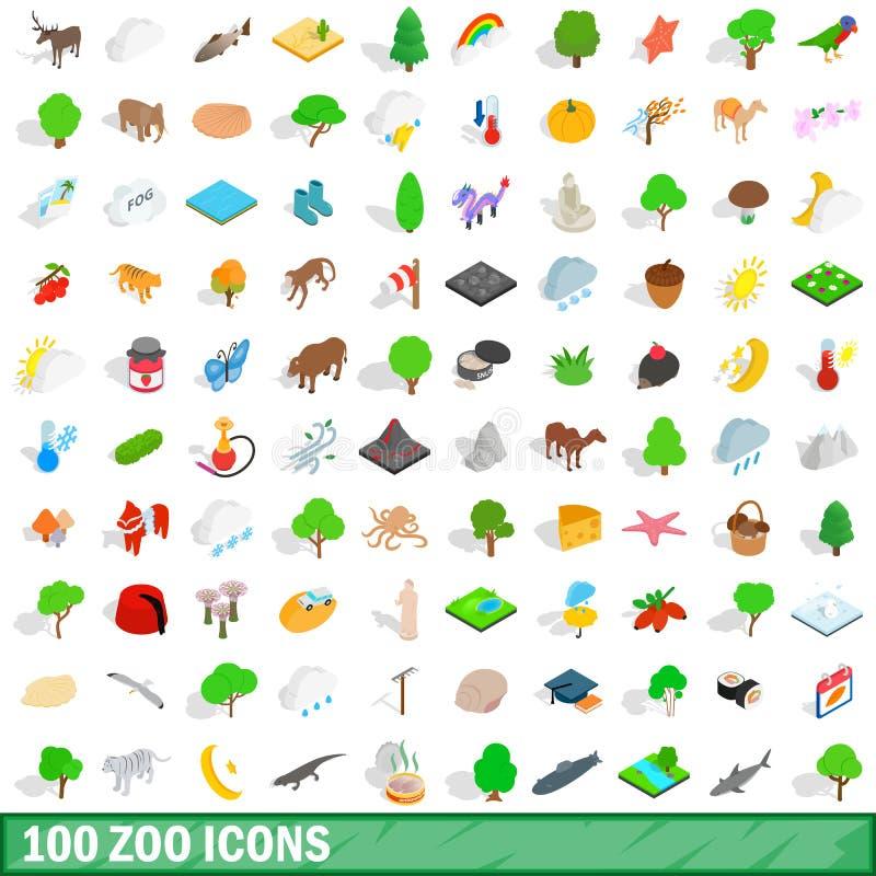 被设置的100个动物园象,等量3d样式 皇族释放例证