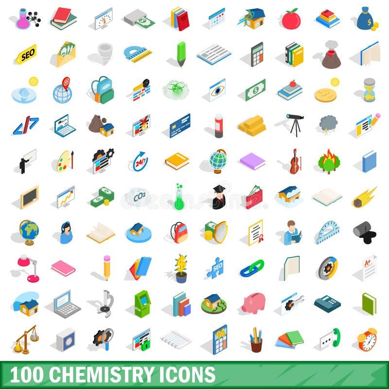 被设置的100个化学象,等量3d样式 皇族释放例证