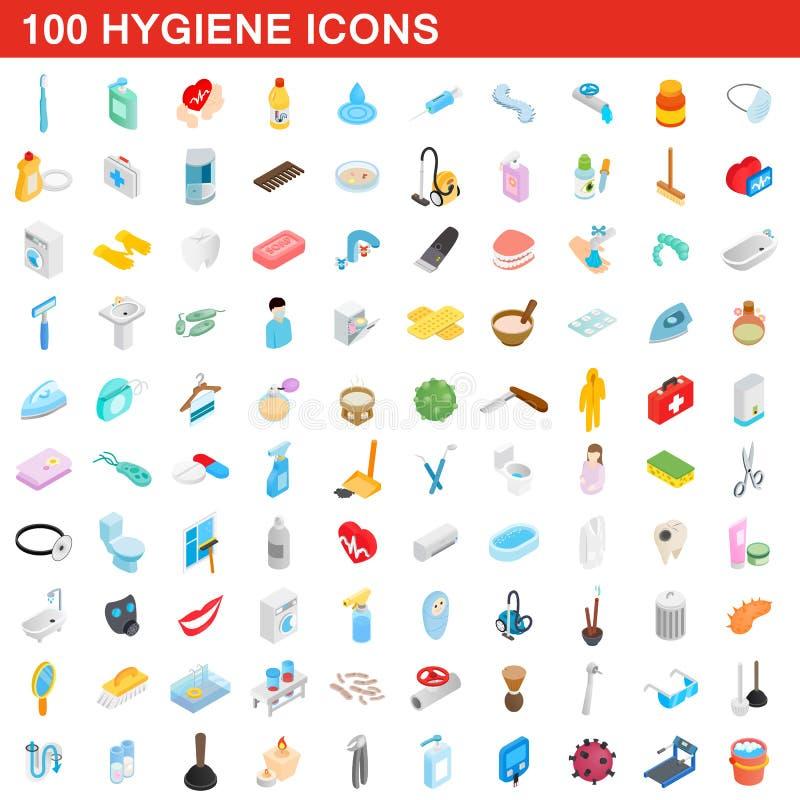 被设置的100个卫生学象,等量3d样式 皇族释放例证
