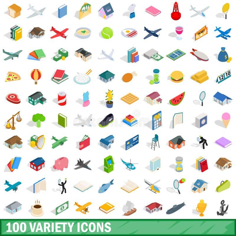 被设置的100个品种象,等量3d样式 库存例证