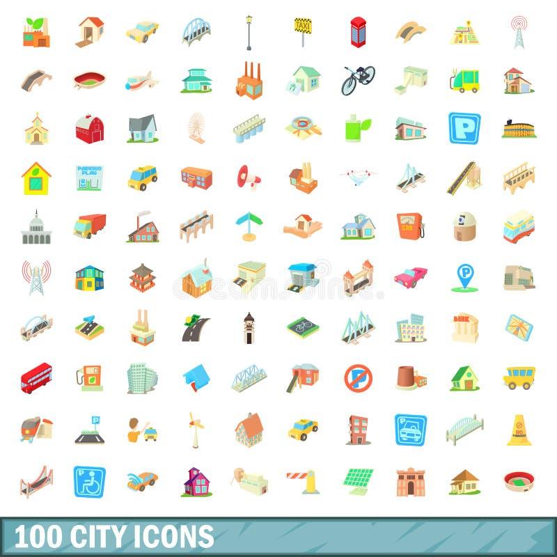 被设置的100个城市象,动画片样式 向量例证