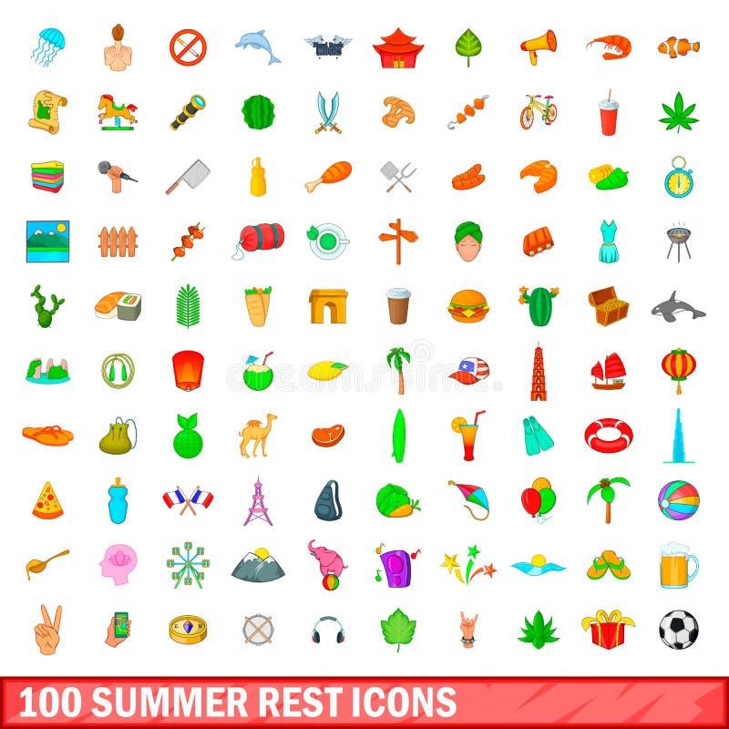 被设置的100个夏天休息象,动画片样式 向量例证