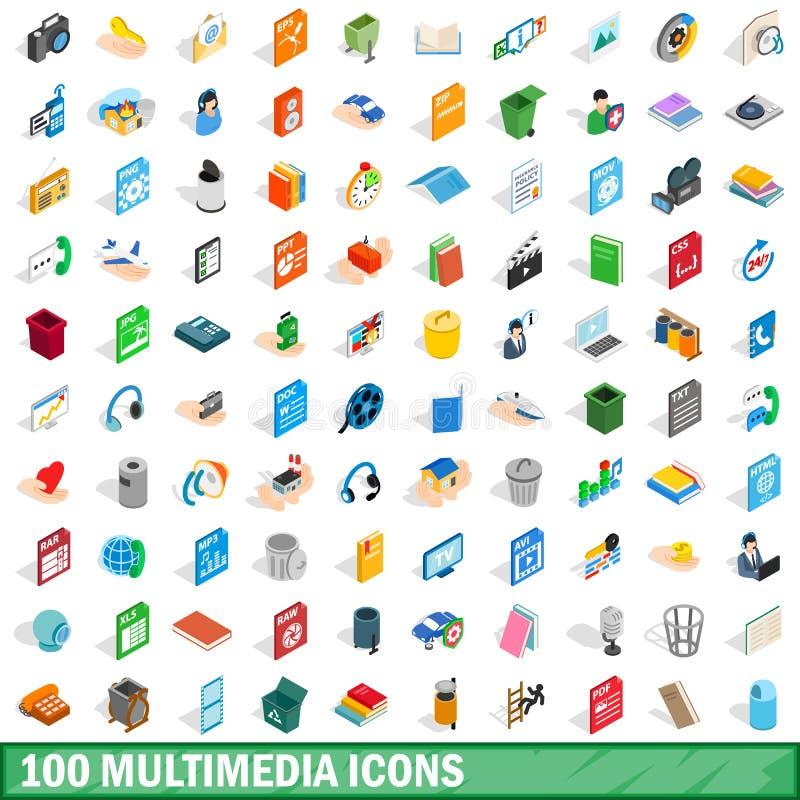 被设置的100个多媒体象,等量3d样式 库存例证
