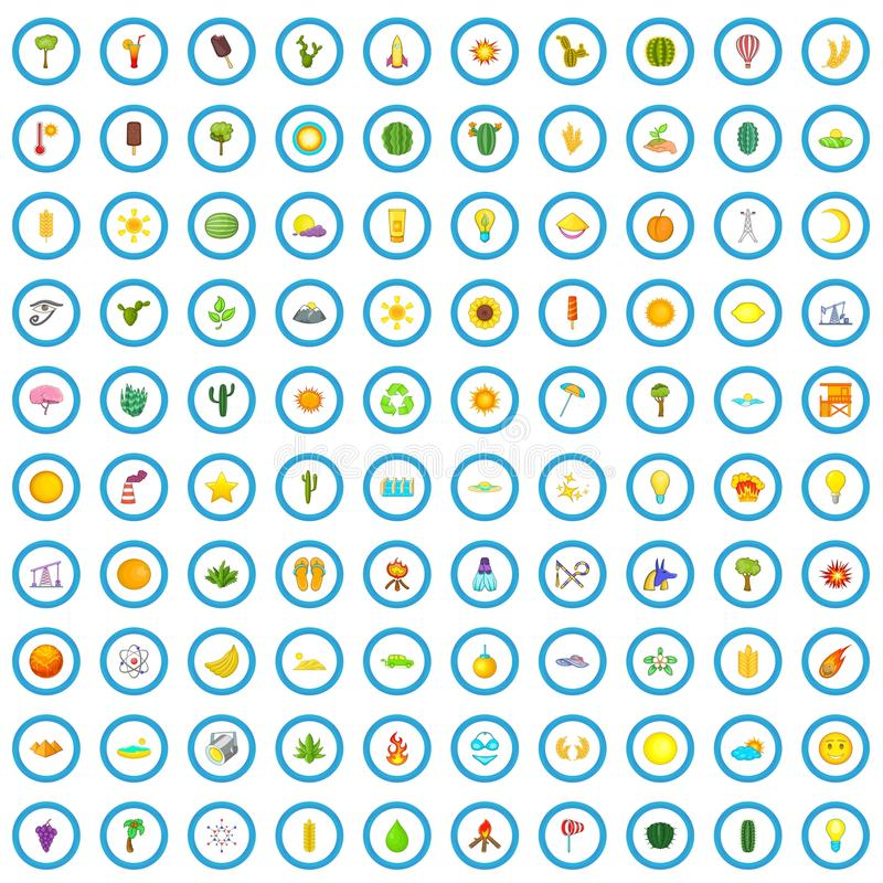 被设置的100个太阳能象,动画片样式 皇族释放例证