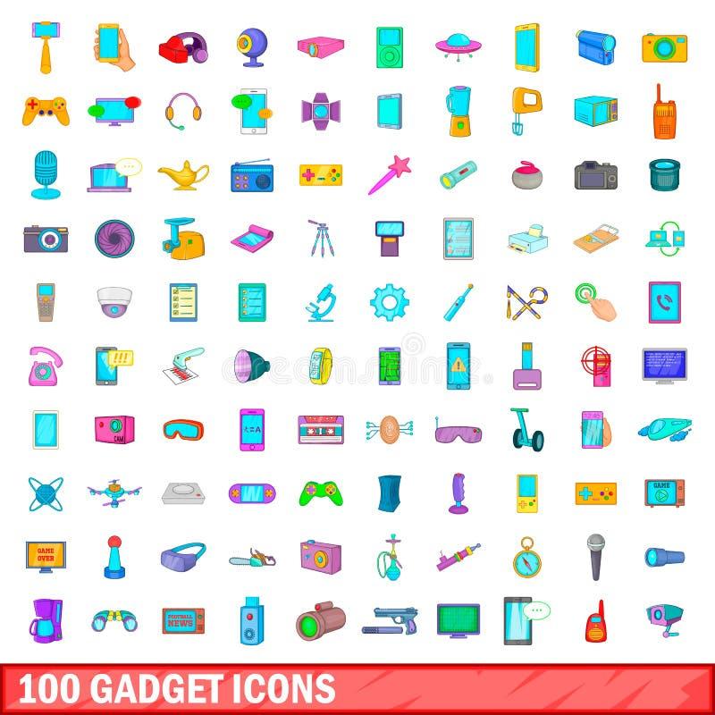 被设置的100个小配件象,动画片样式 向量例证