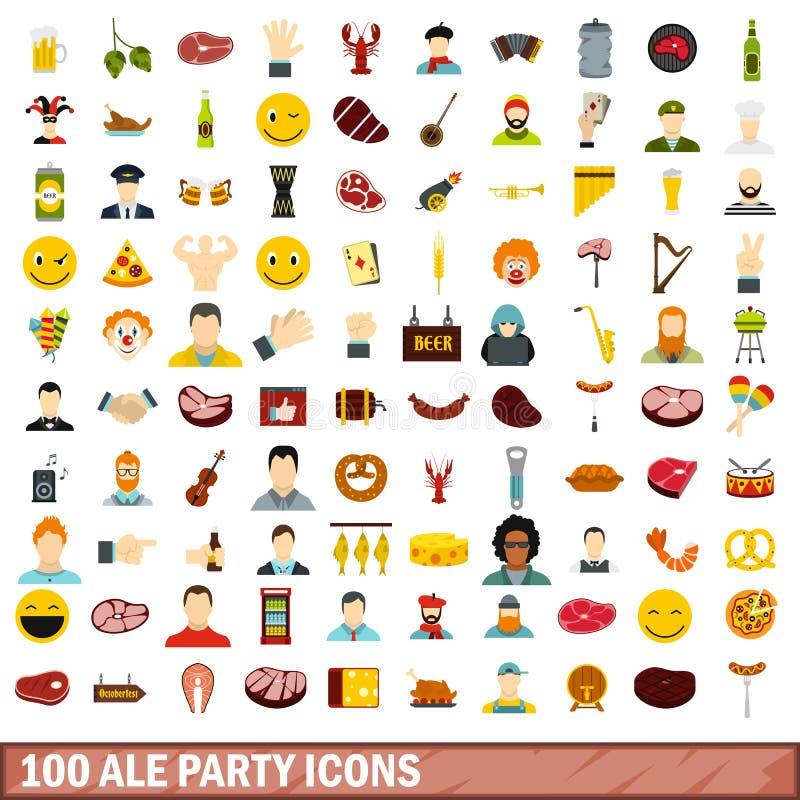被设置的100个强麦酒党象,平的样式 库存例证