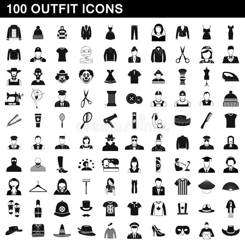 被设置的100个成套装备象,简单的样式 皇族释放例证