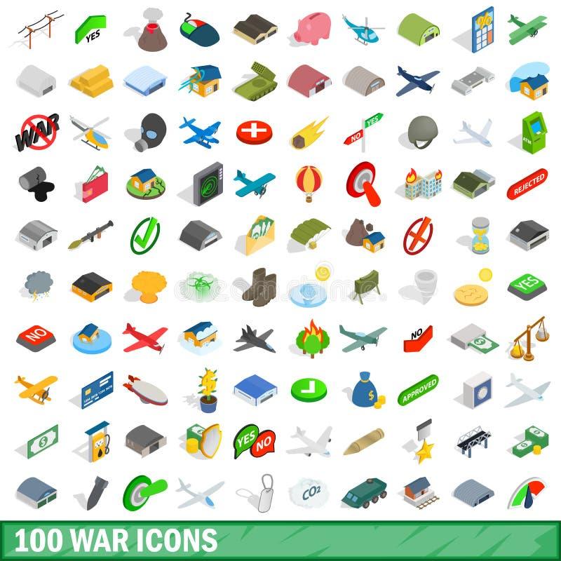 被设置的100个战争象,等量3d样式 库存例证