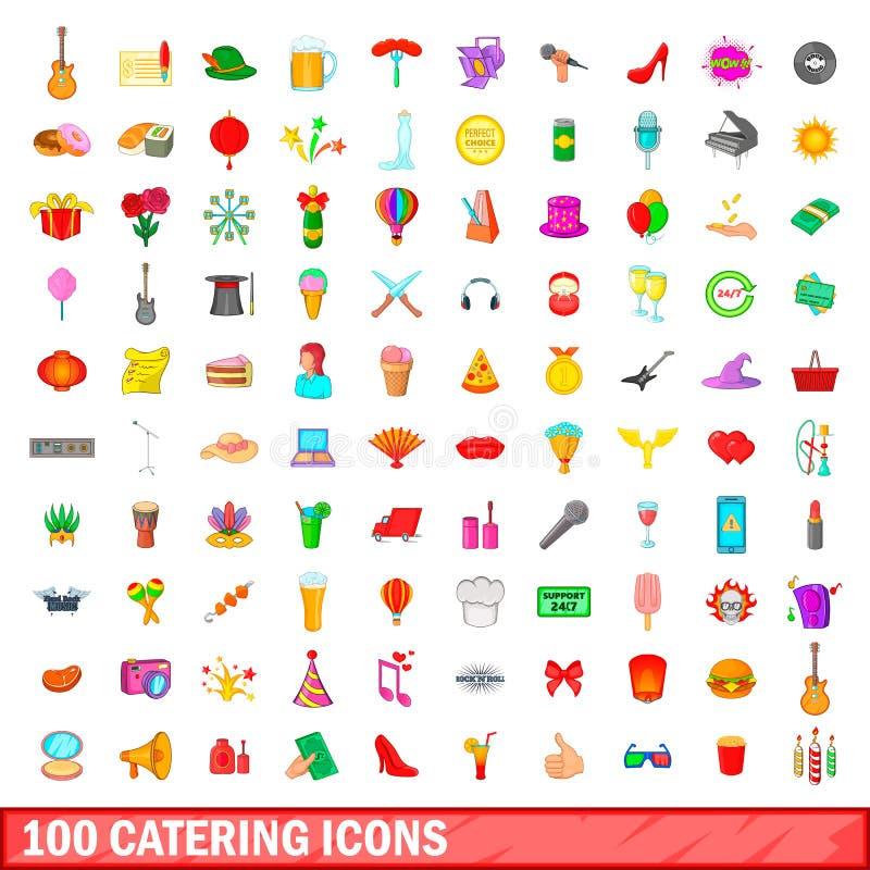 被设置的100个承办的象,动画片样式 向量例证