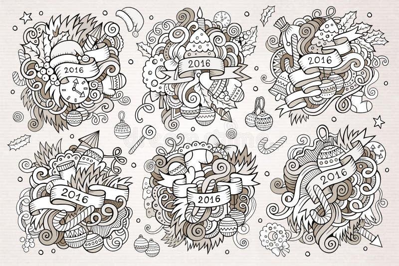 Download 被设置的2016个新年乱画手拉的设计 向量例证. 插画 包括有 蜡烛, 蛇纹石, 响铃, 乱画, 艺术, 礼品 - 62535144