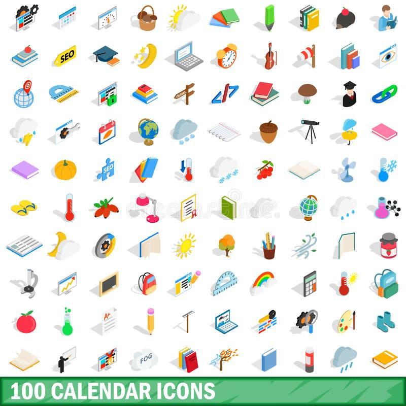 被设置的100个日历象,等量3d样式 向量例证