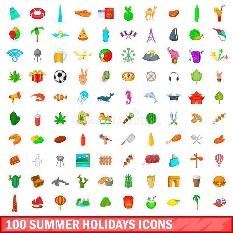被设置的100个暑假象,动画片样式 向量例证