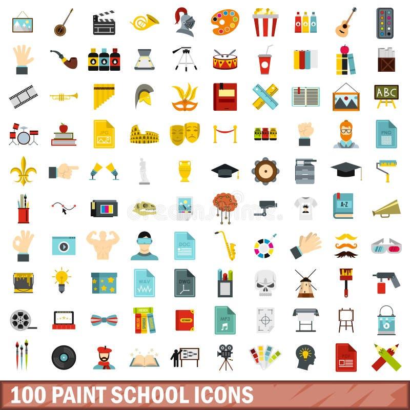 被设置的100个油漆学校象,平的样式 库存例证
