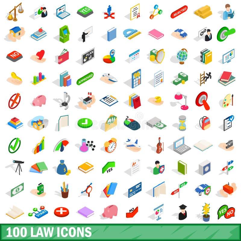 被设置的100个法律象,等量3d样式 库存例证