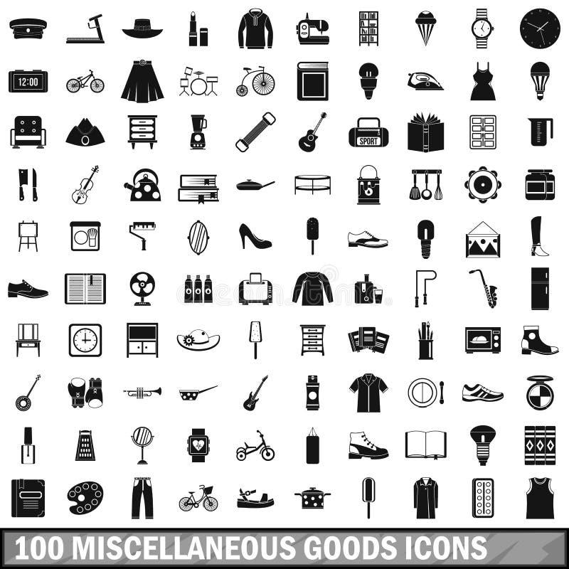 被设置的100个混杂物品象,简单的样式 向量例证