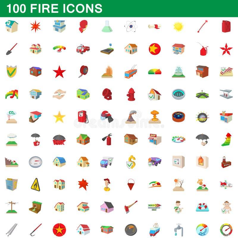 被设置的100个火象,动画片样式 向量例证