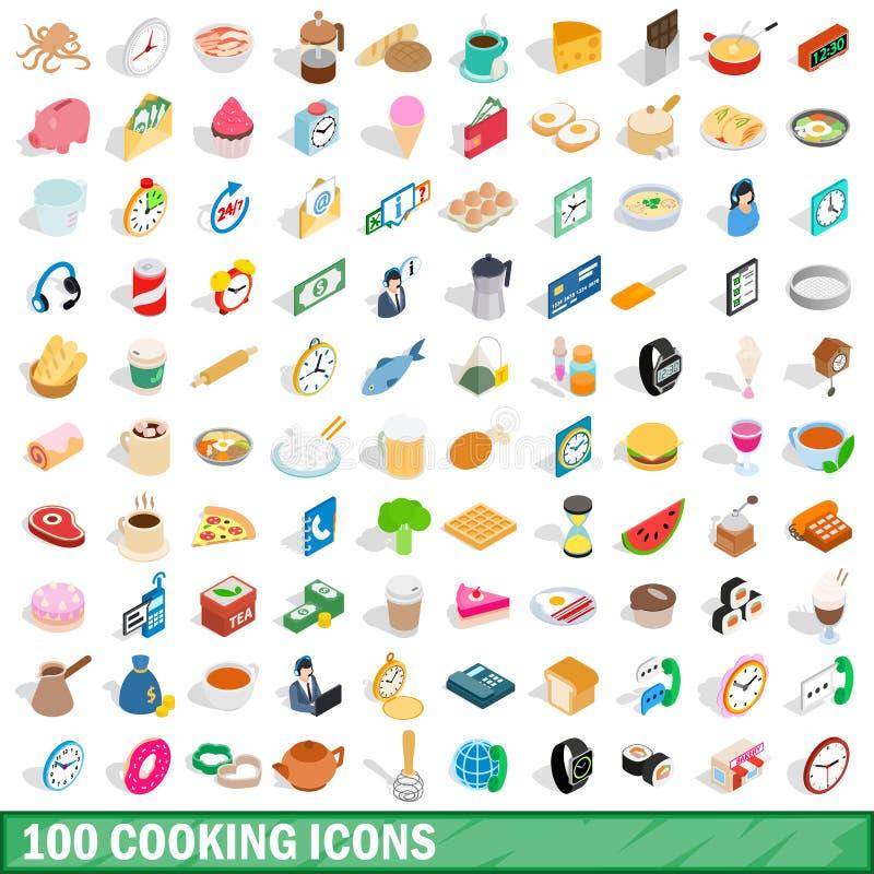 被设置的100个烹调象,等量3d样式 皇族释放例证