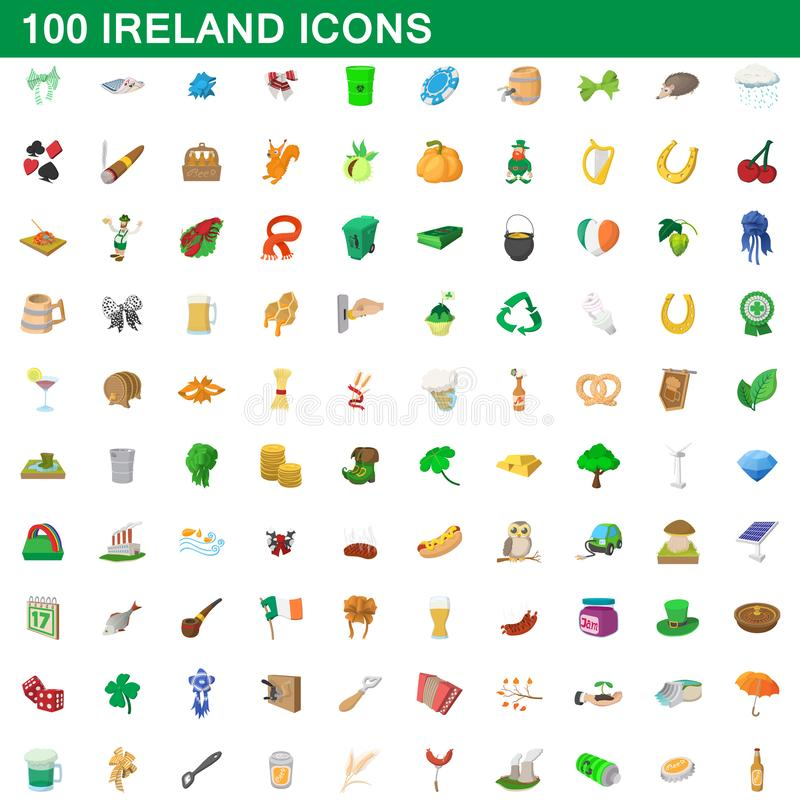 被设置的100个爱尔兰象,动画片样式 向量例证