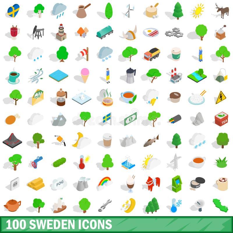 被设置的100个瑞典象,等量3d样式 皇族释放例证