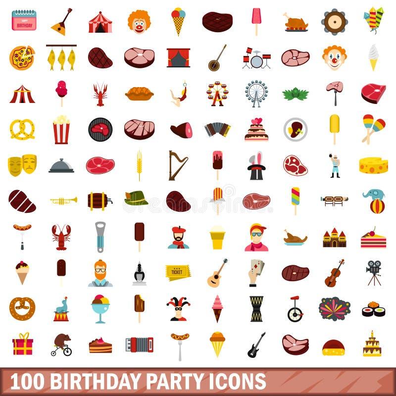 被设置的100个生日聚会象,平的样式 皇族释放例证