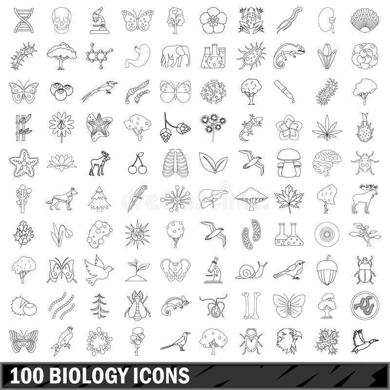 被设置的100个生物象,概述样式 向量例证
