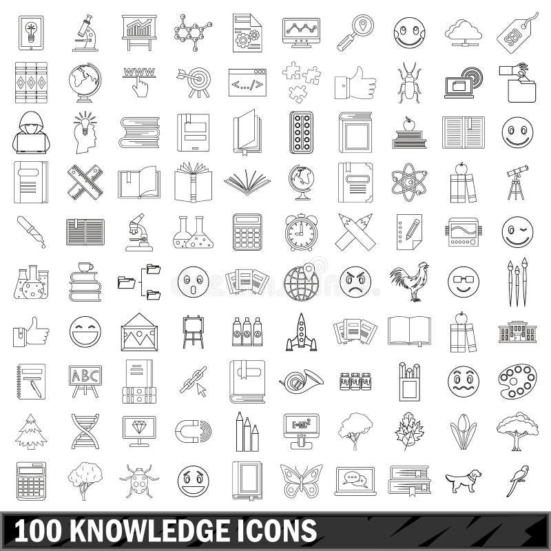 被设置的100个知识象,概述样式 向量例证