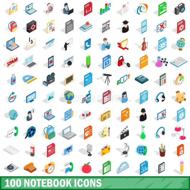 被设置的100个笔记本象,等量3d样式 库存例证