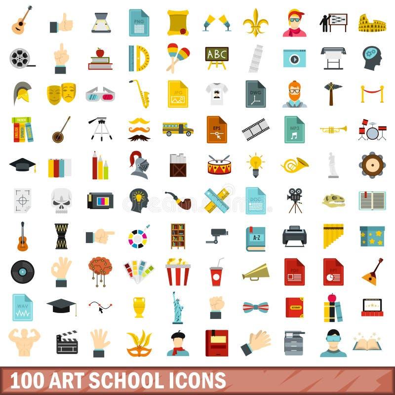 被设置的100个艺术学校象,平的样式 皇族释放例证