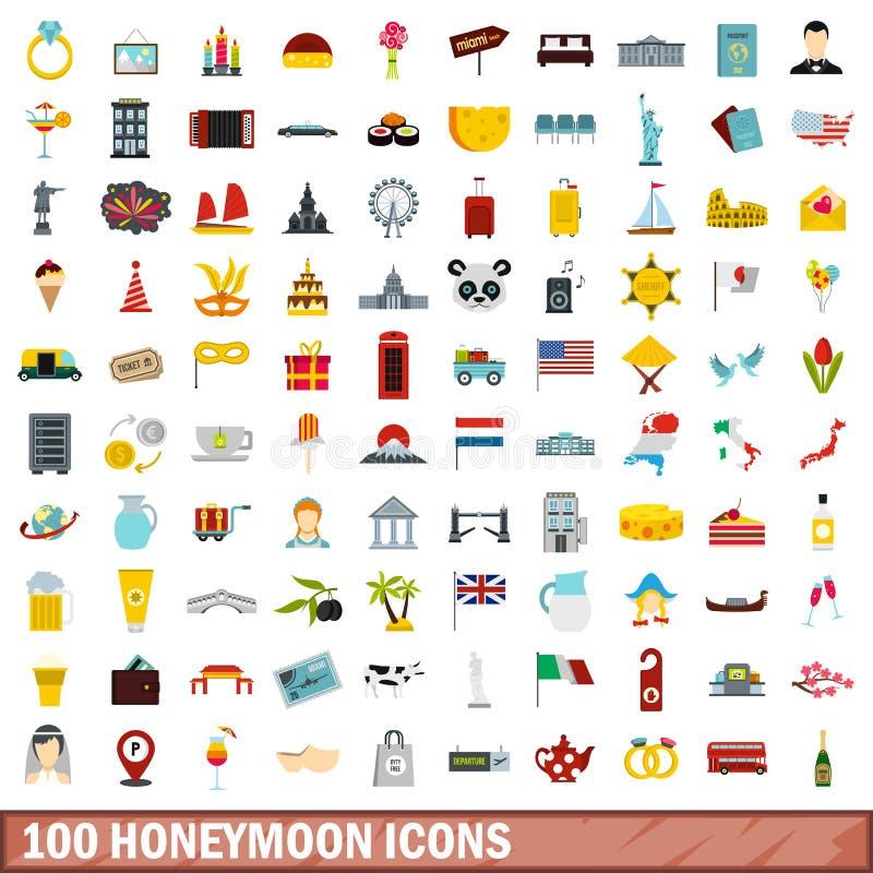 被设置的100个蜜月象,平的样式 库存例证