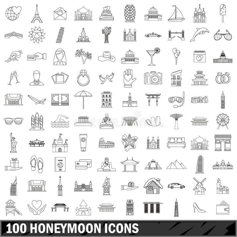 被设置的100个蜜月象,概述样式 库存例证