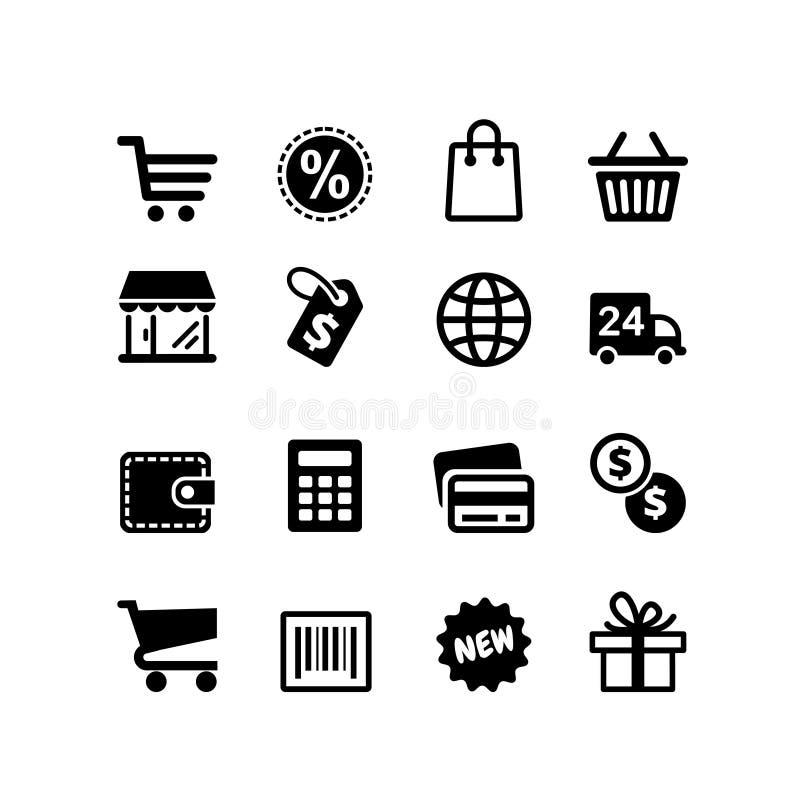 被设置的16个象。购物图表 库存例证