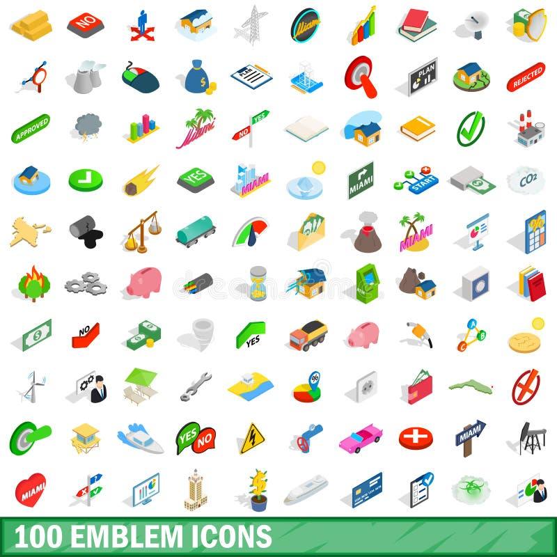 被设置的100个象征象,等量3d样式 库存例证