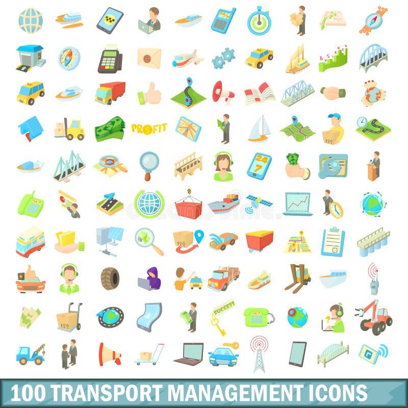 被设置的100个运输管理象,动画片样式 皇族释放例证