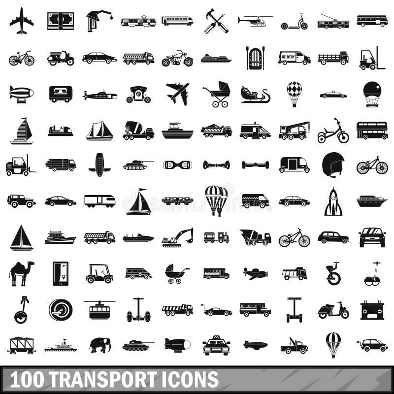 被设置的100个运输象,简单的样式 向量例证