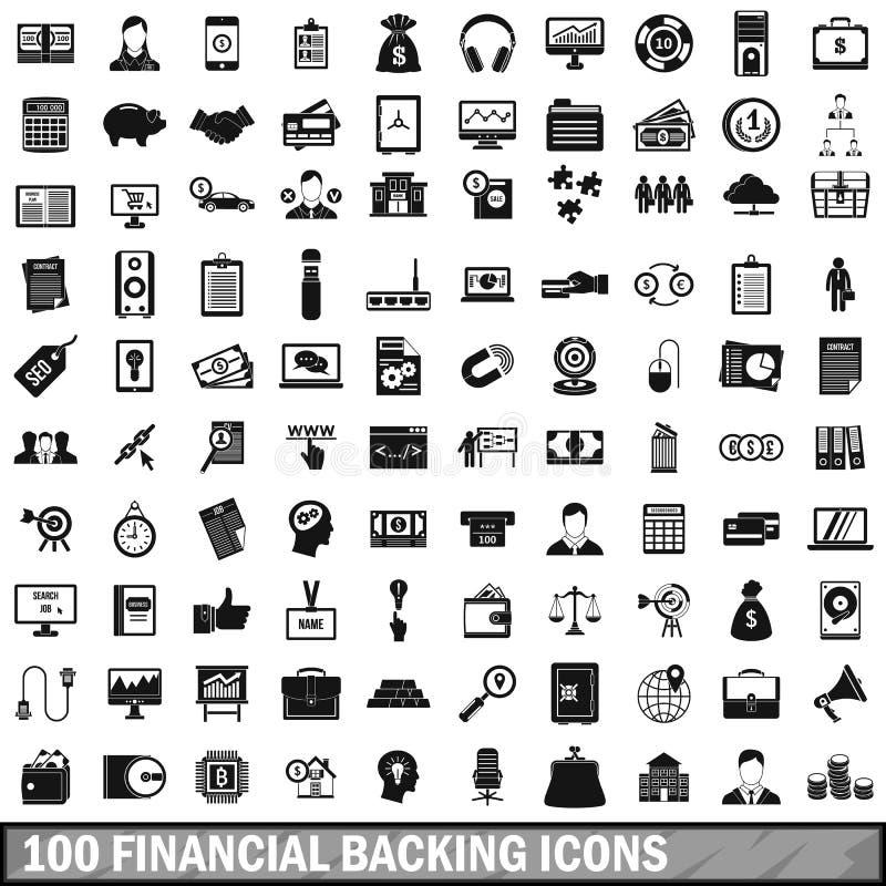 被设置的100个金融支持象,简单的样式 皇族释放例证