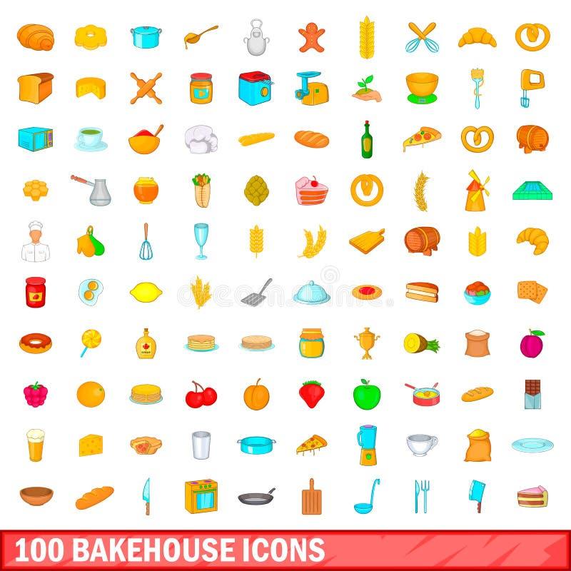 被设置的100个面包店象,动画片样式 向量例证