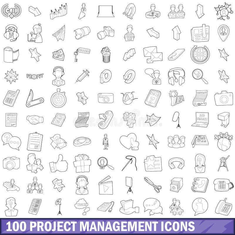被设置的100个项目管理象,概述样式 皇族释放例证