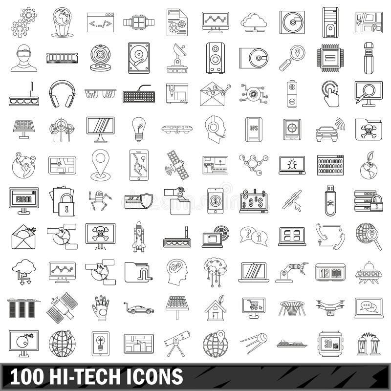 被设置的100个高科技象,概述样式 向量例证