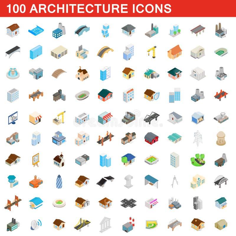 被设置的100个建筑学象,等量3d样式 向量例证
