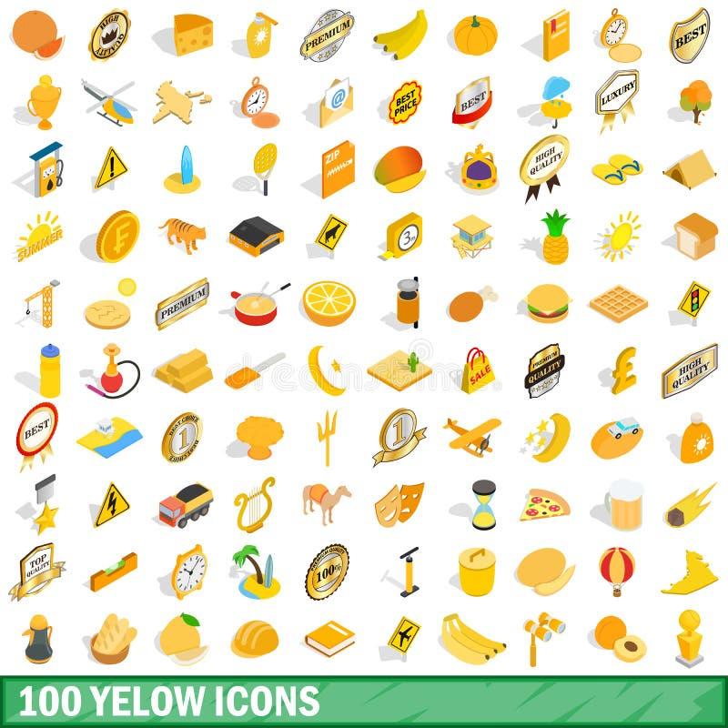 被设置的100个黄色象,等量3d样式 库存例证