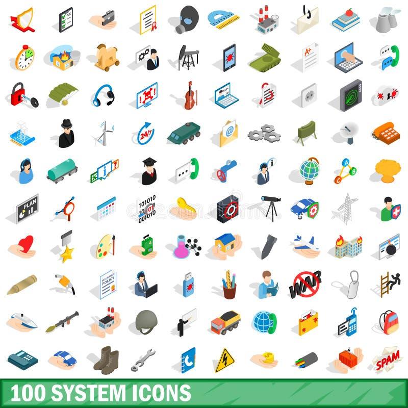 被设置的100个系统象,等量3d样式 库存例证