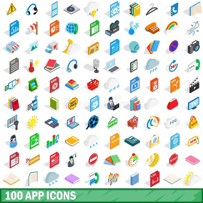 被设置的100个app象,等量3d样式 库存例证