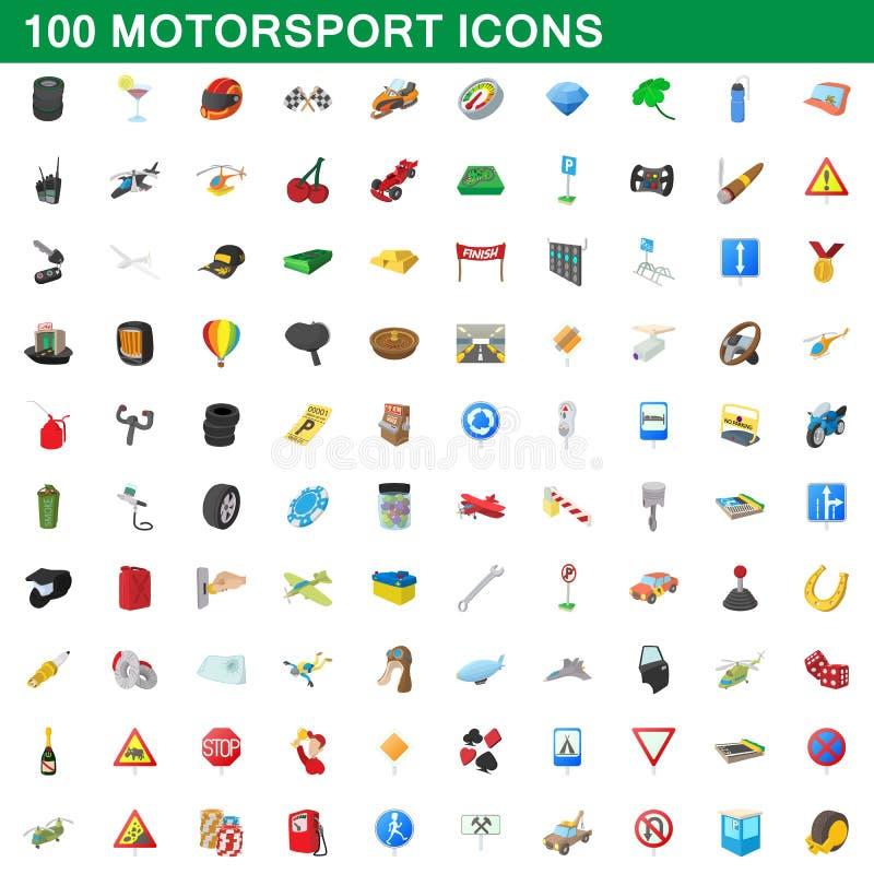 被设置的100个motorsport象,动画片样式 向量例证