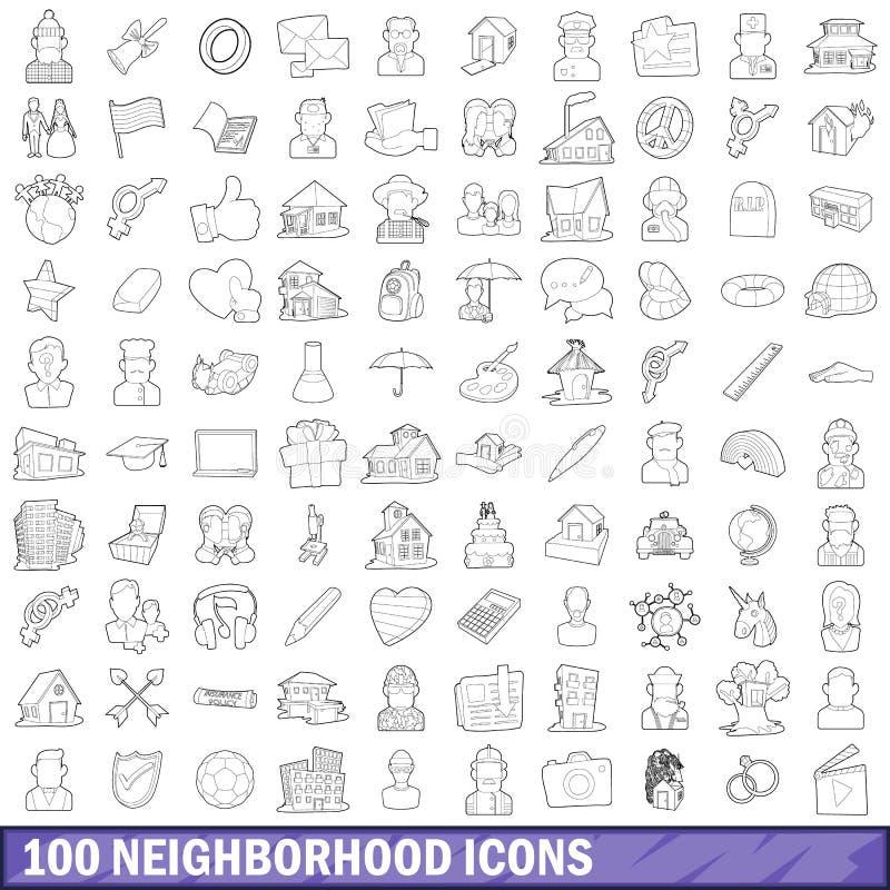 被设置的100邻域图标,概述样式 皇族释放例证