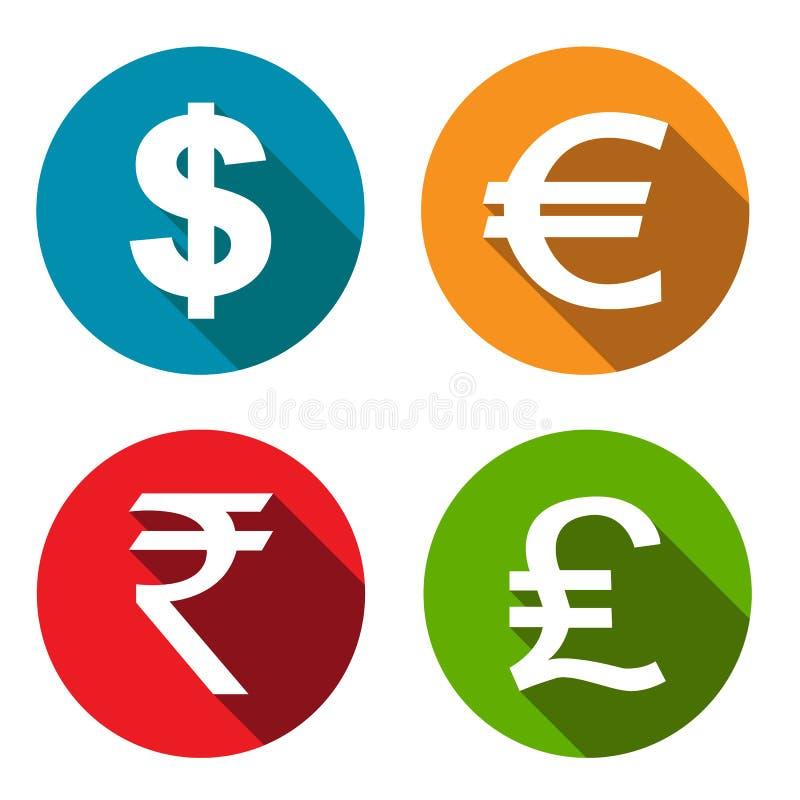 被设置的货币平的象 向量例证