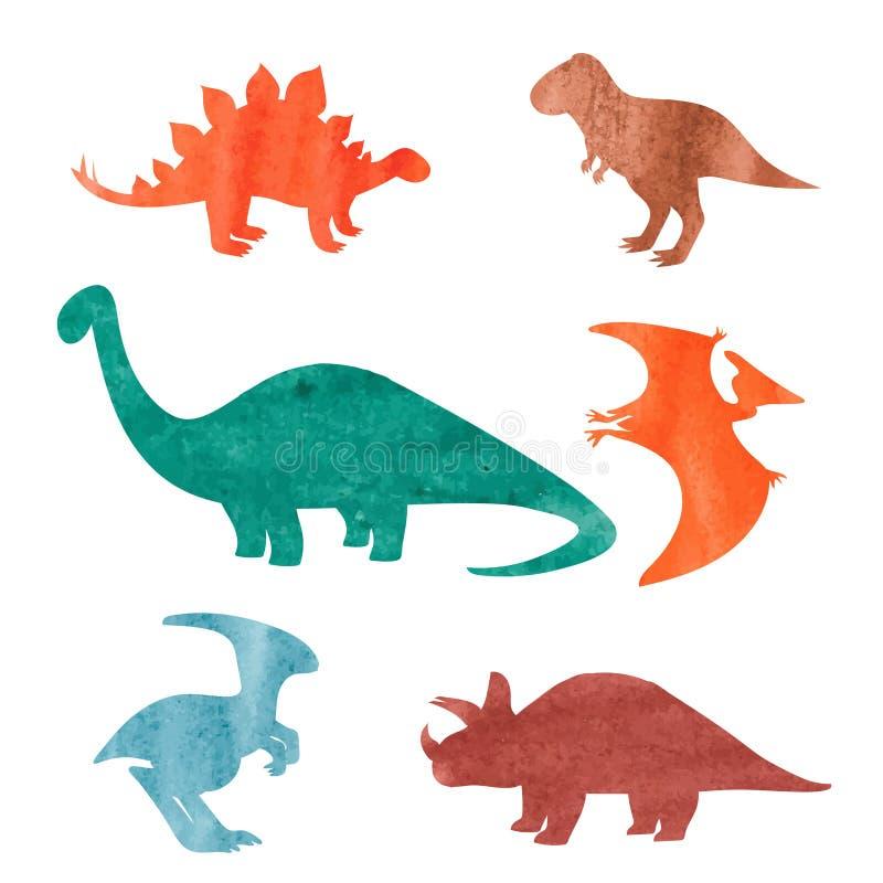 被设置的水彩恐龙 五颜六色的剪影 库存例证