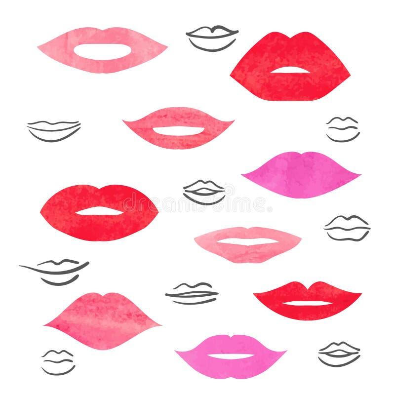 被设置的水彩嘴唇 向量例证