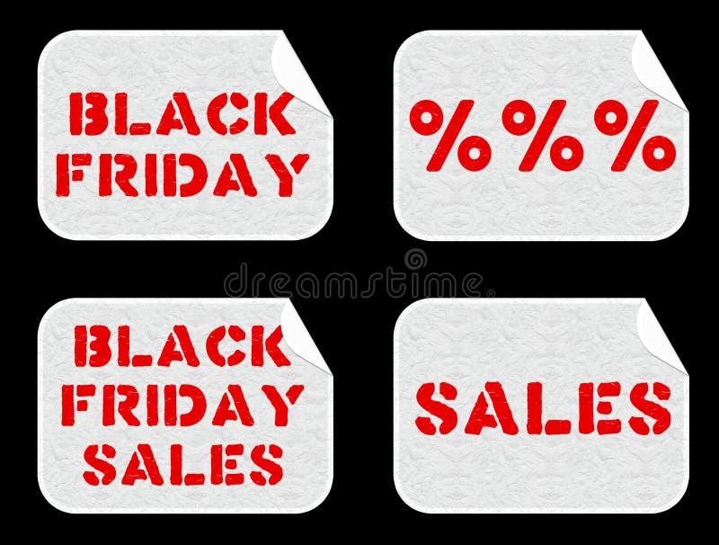 被设置的黑星期五销售贴纸 向量例证