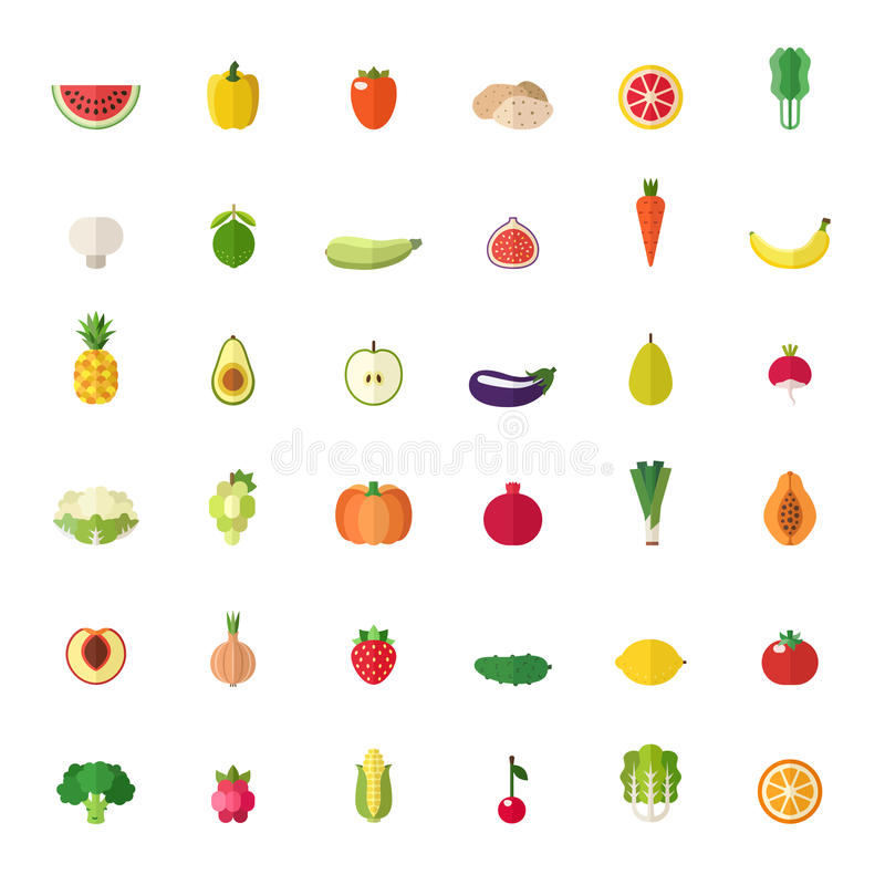 被设置的水果和蔬菜大平的象 库存例证